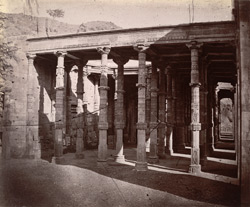 Hall of Hindu pillars inside the Arhai-din-ka-Jhonpra Mosque, Ajmer.